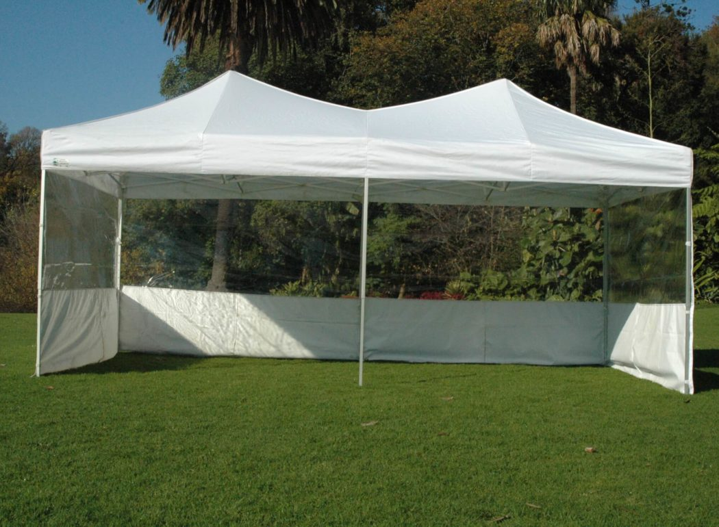 DIY Marquees 3m x 6m White With half clearwalls